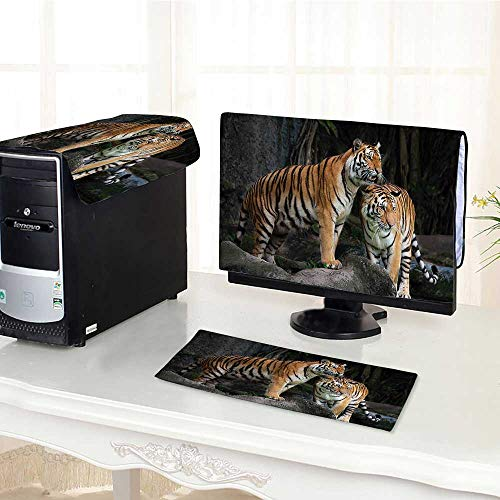Auraisehome Computer dustproof Three-Piece Tiger Couple in The Jungle on Big Rocks Image Wild Cats in Nature for LED LCD Screens Flat Panel HD Display /23