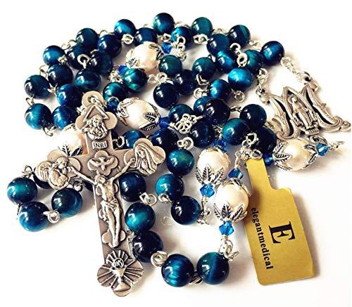 - elegantmedical Handmade Bule Tiger Eye Beads & Real Pearl Rosary Cross Necklace Catholic Gifts