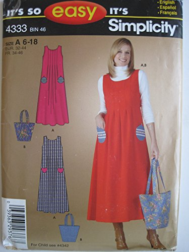 Simplicity 4333 Sewing Pattern for Easy Pleated Bodice Scoop Neck Back Zip Jumper & Tote Bag with Christmas Ornament or Heart Pockets