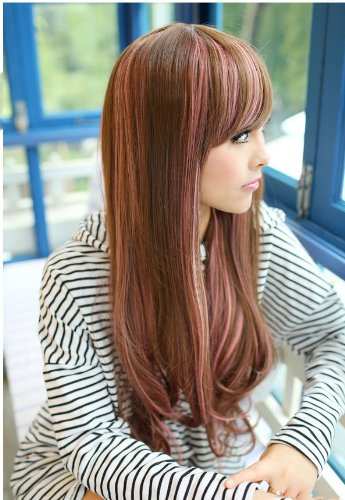 TEEMI-Two Tone Long Stunning Fashion Highlights Cosplay Brown Mixed Pink Wigs