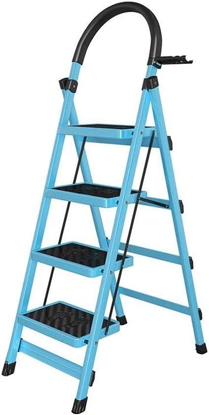 Multifunción exterior plegable escalera, hierro de metal, escalera en cuatro etapas, jardín, poda y escalera de escalera, antideslizante, diseño de pedal estable, color azul 43*76*145cm: Amazon.es: Oficina y papelería