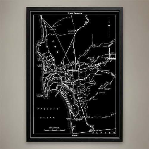 Home Decor San Diego: Amazon.com: San Diego City Map Print, Wall Art For Your