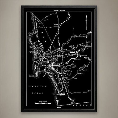 Amazon.com: San Diego City Map Print, Wall Art for your Home or ...