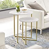 WE Furniture AZFVICNSTMW Side Table, White Faux Marble Nesting