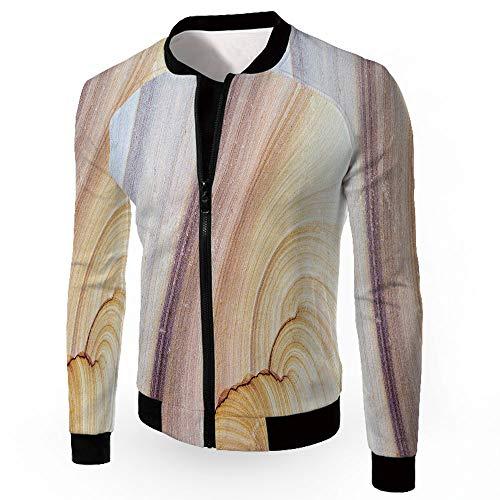 - Bomber Jacket,Marble,Zipper Sportswear Patchwork Long Sleeve Coat,Sandstone Rock