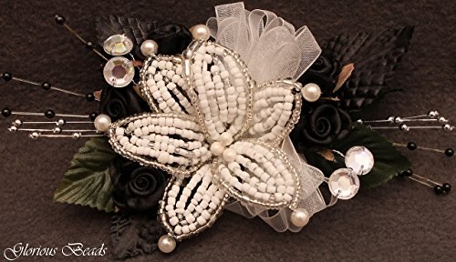 Lily Rhinestone (Black and white BEADED lily wrist Corsage with roses, beads, and rhinestones. Also sold with matching boutonniere. Other colors offered in my Amazon)