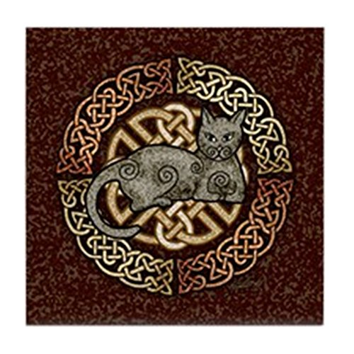 CafePress - Celtic Cat - Tile Coaster, Drink Coaster, Small Trivet ()