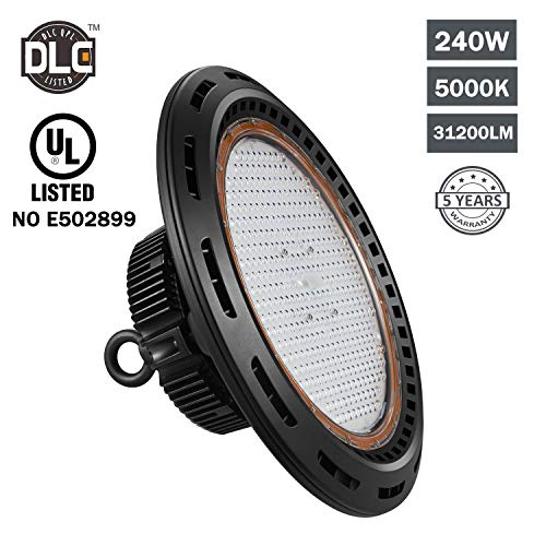 Hakkatronics 240W LED UFO Highbay Lights, High Bay Shop Lighting LED, 33600lm, 5000K Daylight White, LED High Bay Light Fixtures for Industrial Commercial Bay Lighting, DLC 4.3, 10 Years Warranty