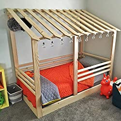 Twin Bed Frame Lean-To House Bed PREMIUM WOOD
