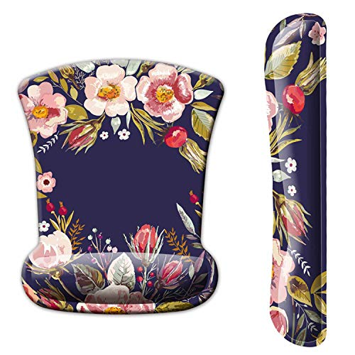 Dooke Keyboard Wrist Rest Pad and Mouse Wrist Rest Support, Comfort Wrist Rest Pad with Non-Slip Rubber Base & Memory Foam Support for Working Gaming Fatigue Pain Relief Floral