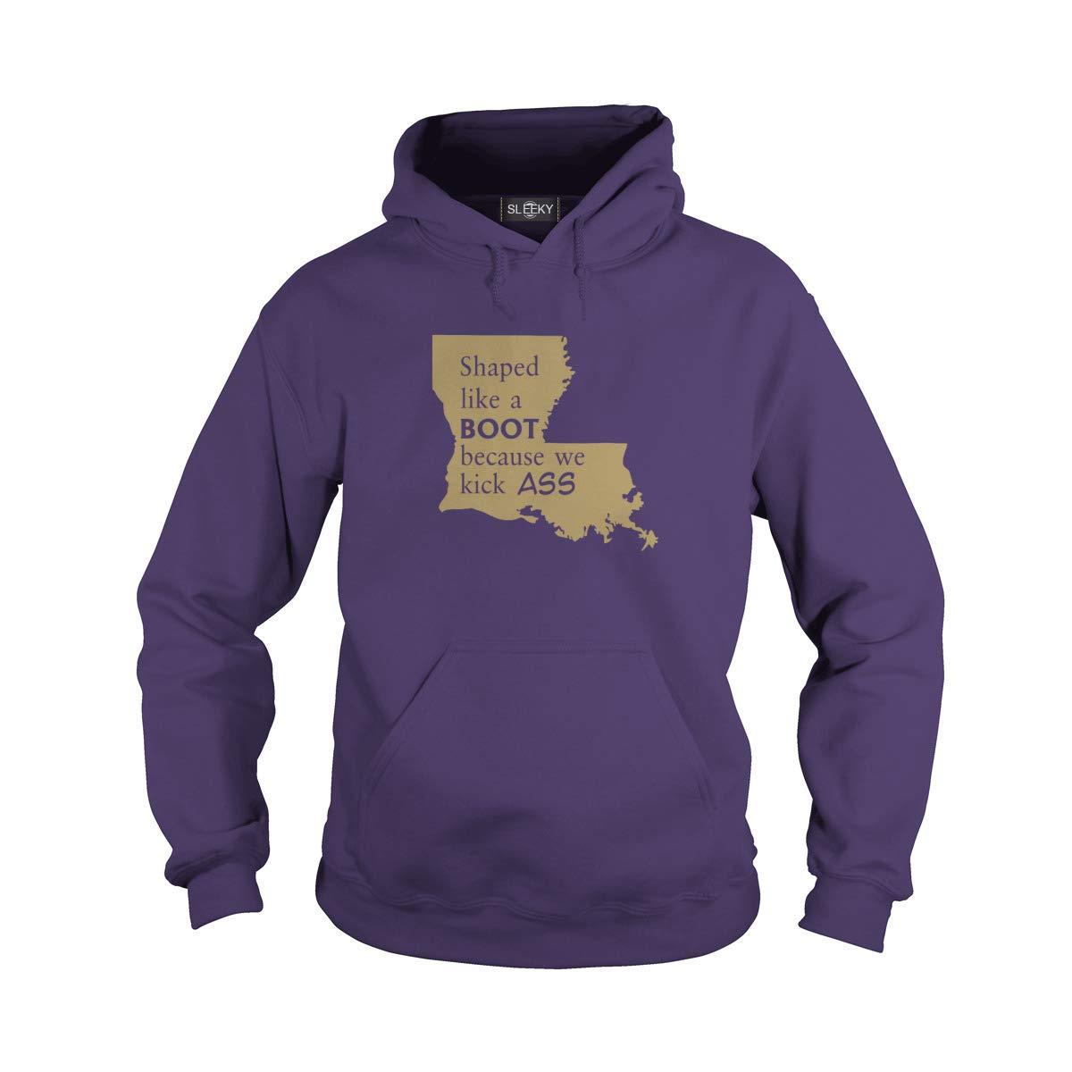 Unisex Louisiana Shaped Like A Boot Because We Kick Ass Hoodie (S, Purple)
