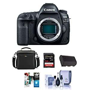 Canon EOS 5D Mark IV Digital SLR Camera Body USA Warranty - Bundle with 64GB U3 SDHC Card, Camera Bag, Spare Battery, Cleaning Kit, Software Package