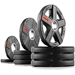 XMark TEXAS STAR Olympic Plate Weights, Olympic Plate Sets, Olympic Grip Plate, 2-Inch Weight Plates, Rubber Grip Olympic Plate Weights, Weight Sets, 65 lb. Set