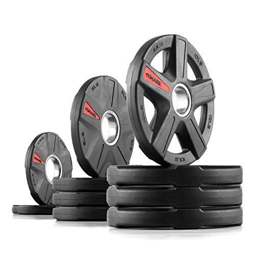 XMark Texas Star 65 lb Set Olympic Plates, Patented Design, One-Year Warranty, Olympic Weight Plates (Olympic Bumper Weight Set)