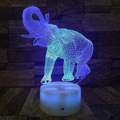 BFMBCHDJ Amazing Elephant 3D Illusion LED Lámpara de mesa Luz ...