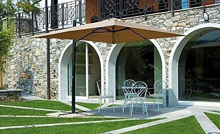 Sombrilla rectangular, 3,3 x 2,4 m, aluminio negro mate-PEGANE-71 ...
