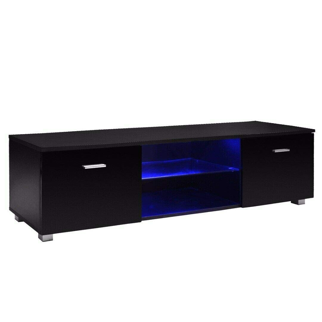 63'' TV Cabinet high Light Black Unit Cabinet with LED Light 2 Drawer Console by SJT.
