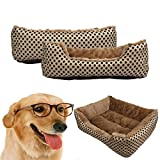 Pet Bed, SymbolLife Washable Dog Cat Pet Warm Basket Bed Cushion with Fleece Lining Rectangle Pet Bed All Season Pet Bed Three Sizes to Fit Most Pets Medium, Gold or Light Gold (Random Delivery)