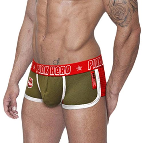 NEARTIME Men's Underwear, Underpants Knickers Mens Boxer Briefs Shorts Under Panties (L, Army Green)