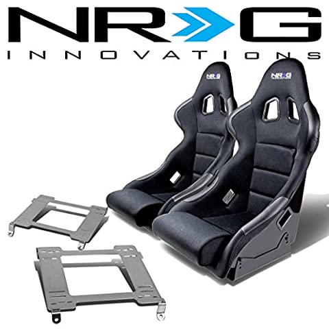 NRG FRP-311 Pair of Fiber Glass Bucket Racing Seat (Black)+Mounting Bracket for Nissan 240SX S13 - 89 Passenger Side Bracket