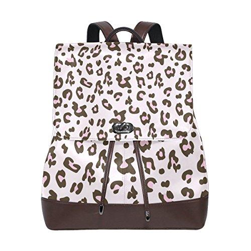 (KUWT Leopard Skin Print PU Leather Backpack Photo Custom Shoulder Bag School College Book Bag Rucksack Casual Daypacks Diaper Bag for Women and Girl)