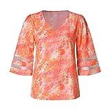 Women Tie-Dye Blouse V-Neck Gradient Crop Tops
