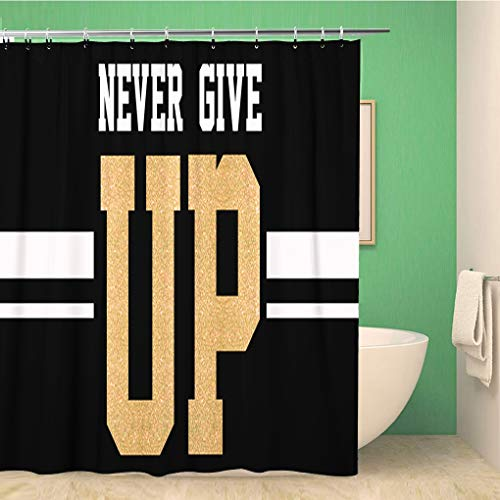 (Awowee Bathroom Shower Curtain Letter Varsity Slogan White Active Amazing Black Campus Cool 72x78 inches Waterproof Bath Curtain Set with Hooks)