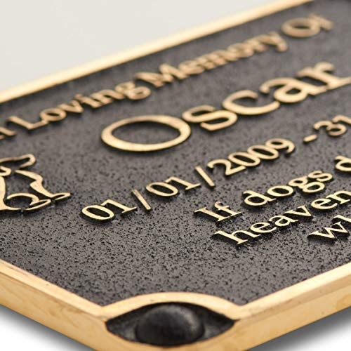 The Metal Foundry Personalised Dog Memorial Metal Plaque for Memory of A Loved Pet. Wall Mounted As Garden Stones Statue Gift Alternative Idea in Brass Handmade in England by The Metal Foundry Ltd (Image #1)