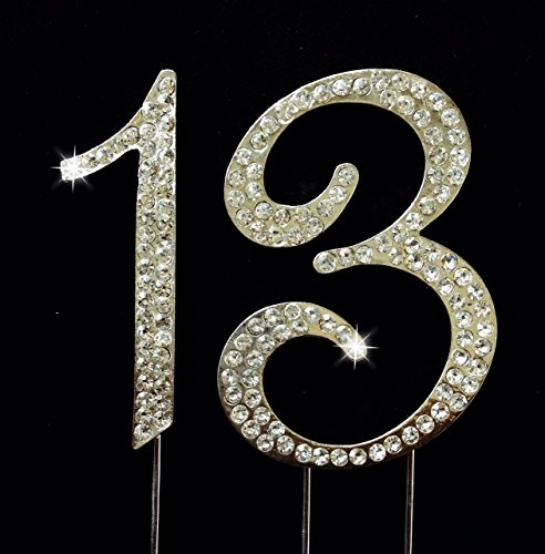 13th Birthday Number Cake Topper with Sparkling Rhinestone Crystals - 2.75