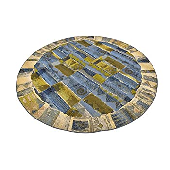 Unique Loom Eden Outdoor Collection Blue 8 ft Round Area Rug (8 x 8)