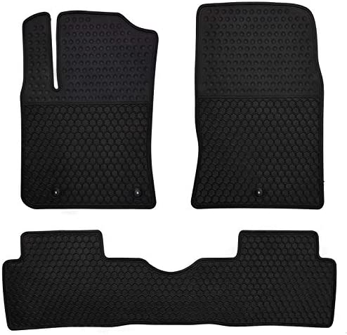 Megiteller Car Floor Mats Custom Fit for Hyundai Kona 2018 2019 2020 2021 2022(Electric Models Only) Odorless Washable Heavy Duty Rubber (All Weather) Floor Liners Front and Rear Row Set Black