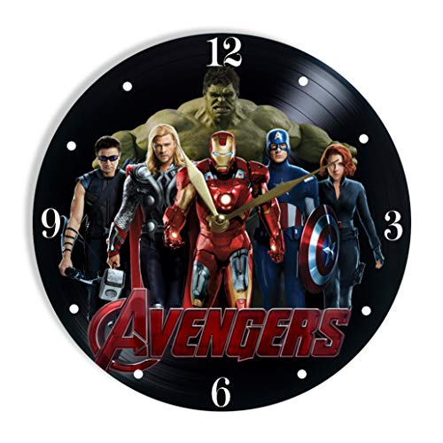 MiraG Avengers Painted Vinyl Clock - Avengers Colored Wall Clock - Unique Gifts for Fans Superheroes - The Best Home -