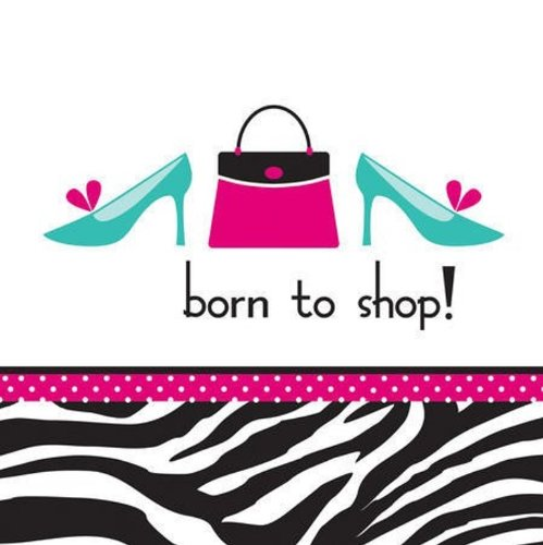 (Creative Converting Pink Zebra Boutique Born to Shop Lunch Napkins, 16)