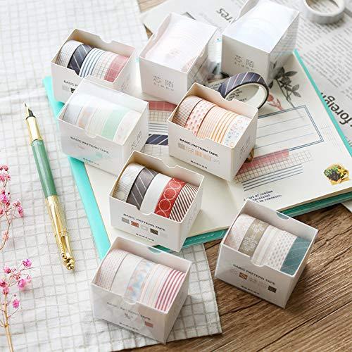(KANGBOOS Masking Tape 40pcs 10mmX3m 5pcs/Set Pure Color Series Geometric Grid Twill Pattern Paper washi Tape Notebook Scrapbook DIY Learning Stationery)