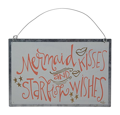 Collins Mermaid Kisses and Starfish Wishes Decorative Wall Hanging Tin Sign