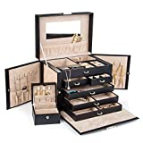 Kendal Large Black Leather Jewelry Box Case Storage Organizer With Travel Case and Lock