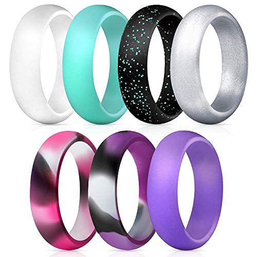 infiniti x Silicone Wedding Rings for Woman/Girls 7 Pack - Premium Silicone Wedding Exercise Bands - Glitter, Metallic, Silver, Blue,White, Purple, Pink Camo, Purple Camo, Black -