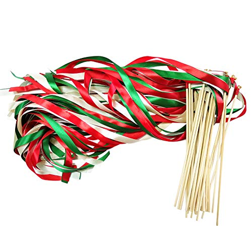 Hangnuo 30 Pack Ribbon Wands Wedding Streamers with Bells, Fairy Stick Wand Party Favors for Baby Shower Holiday Celebration, Red Green #1 ()