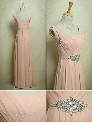 Rose Beauty Rundhalsausschnitt lang Strass Party Kleid Emily Trägern 6w0fqBa