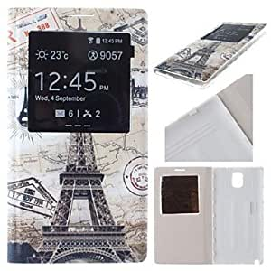 SHERRYLEE World Map and Eiffel Tower Pattern Battery Cover Holster Case for Samsung Galaxy Note 3