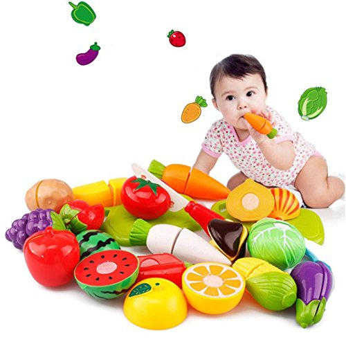 (Boomboom Educational Toys, 20 Pcs Cutting Fruit Vegetable Pretend Play Educational Toys for Baby Children Kid White )