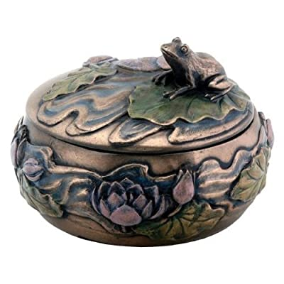 "Frog Sitting on Lily Decoration Art Nouveau Design Jewelry Box - Measures: DIA: 4.25"" x H: 3"" Made of cold cast resin. Hand painted. A YTC Summit original design - living-room-decor, living-room, home-decor - 51YE4U46hPL. SS400  -"