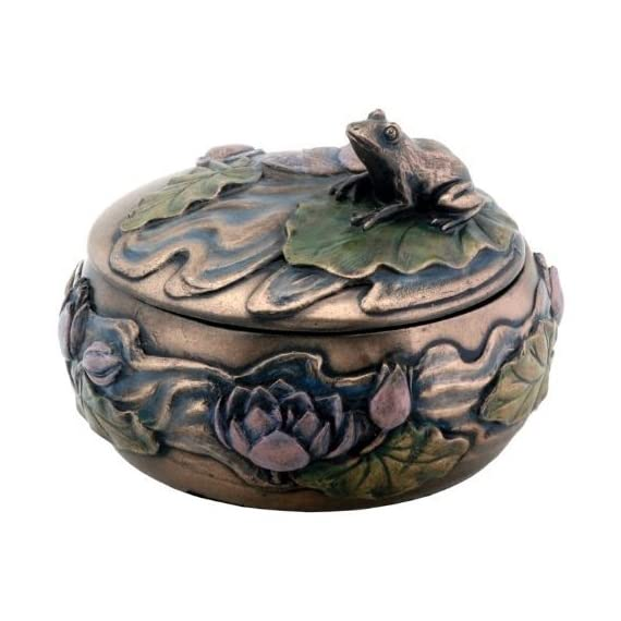 """Frog Sitting on Lily Decoration Art Nouveau Design Jewelry Box - Measures: DIA: 4.25"""" x H: 3"""" Made of cold cast resin. Hand painted. A YTC Summit original design - living-room-decor, living-room, home-decor - 51YE4U46hPL. SS570  -"""