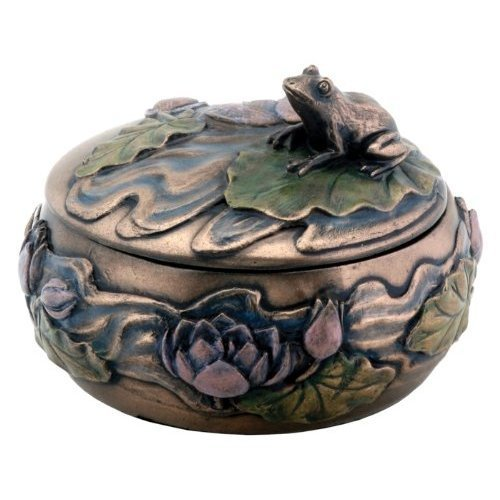 (Frog Sitting on Lily Decoration Art Nouveau Design Jewelry Box)