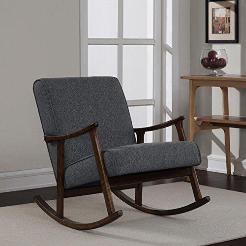 Granite Grey Fabric Retro Wooden Rocker Glider Chair - Wooden Retro Rocker