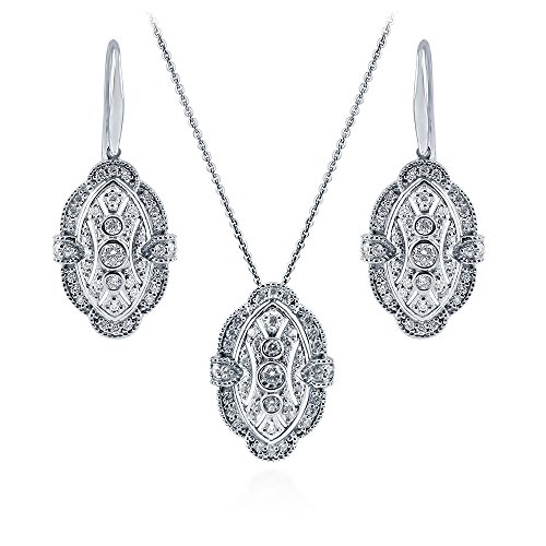 (BERRICLE Rhodium Plated Sterling Silver Cubic Zirconia CZ Art Deco Necklace and Earrings Set)