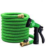 Chiffff Garden Hose Expandable 75 Feet No-Kink Flexible Water Hose with 8-Mode High Pressure Spray Nozzles and 3/4'' Solid Brass Fittings and Storage Bag (75FT, Green)