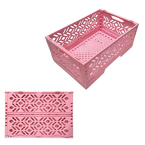 4 Quart Case Pack (Lzttyee Desktop Collapsible Hollow Plastic Storage Basket Organizer Box Container for Household Office Sundries (Pink))