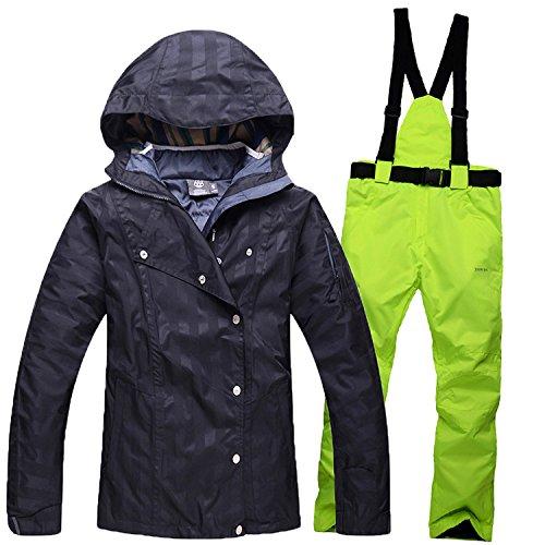 DYF Sport Ski Hat Manteau manche longue Zipper Bretelles Pantalon,épaissie Noir Vert,S