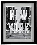 "New York Black and White Art Print in Floating Glass Black Frame, 13"" x 15"""